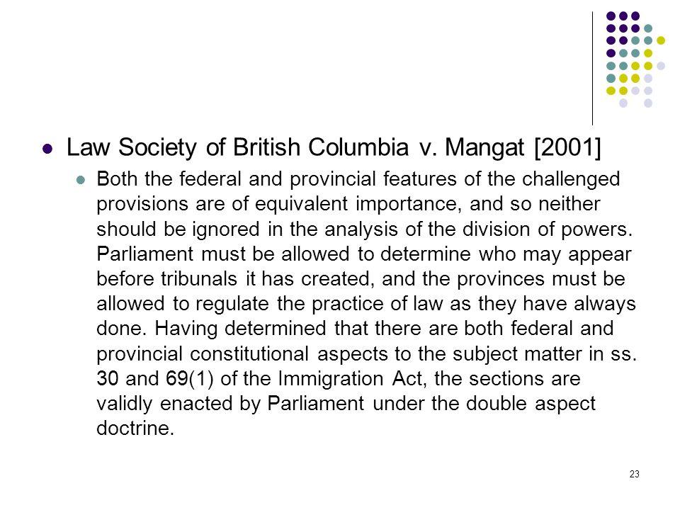 Law Society of British Columbia v. Mangat [2001]